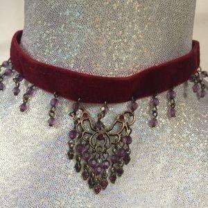 Jewelry - Maroon Velvet  Choker w/Chandelier Beading